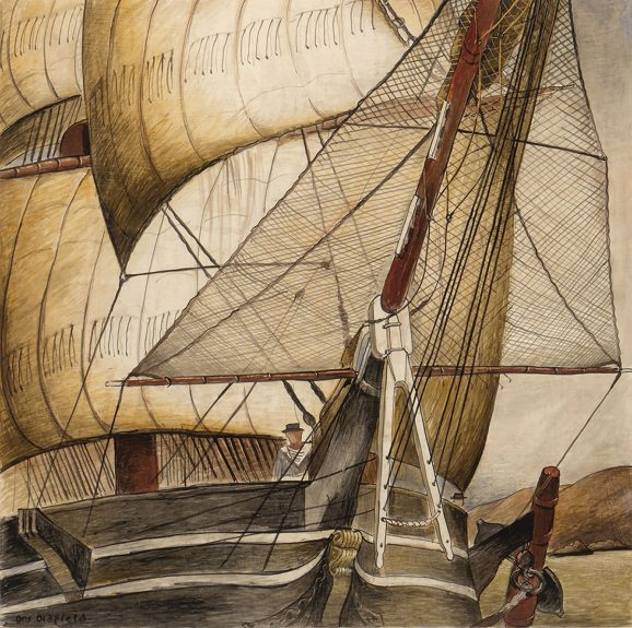 Otis Oldfield - Sailing Ship of 1850s in San Francisco Bay. WPA Competition Entry for Rincon Annex Post Office, San Francisco