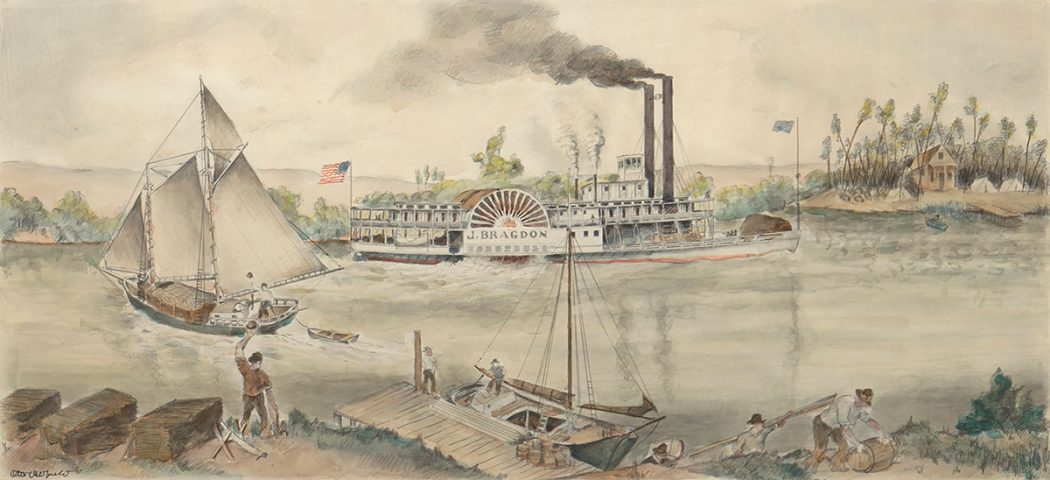 Otis Oldfield - San Joaquin River Transportation in the 1850s. WPA Mural Project for the Stockton Post Office
