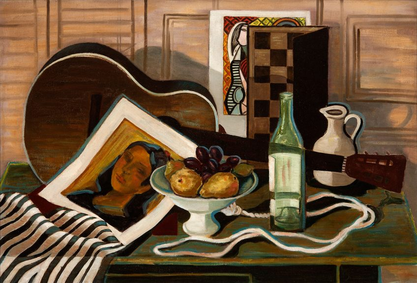 Francis de Erdely - Untitled (Guitar with Bottle and Fruit)