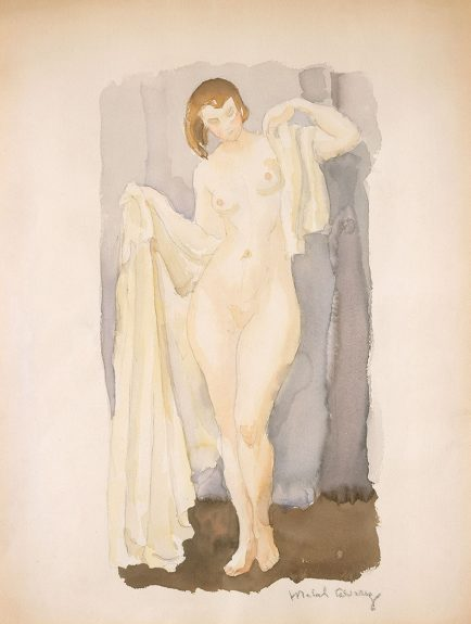 Mabel Alvarez - Standing Nude with White Drapery