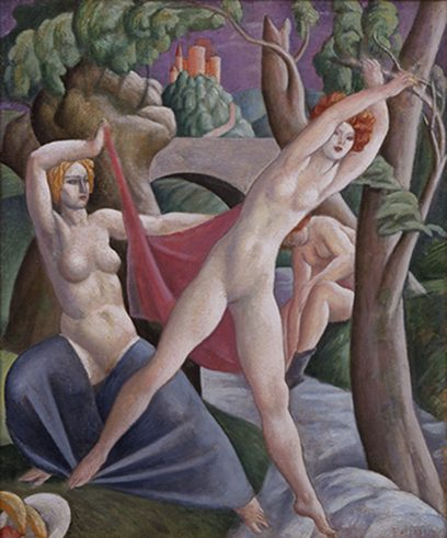 Lorser Feitelson – Untitled (Figures in the Woods)