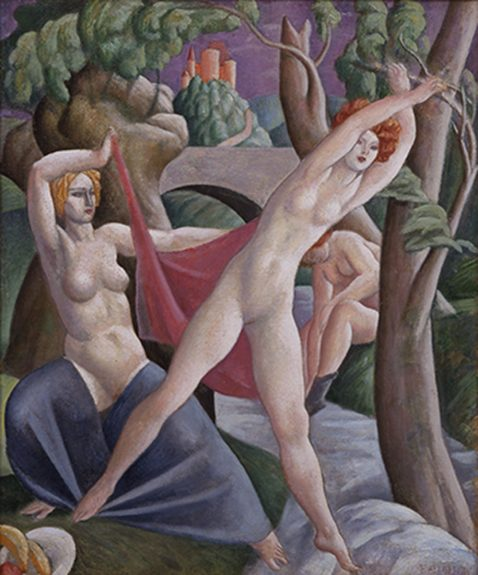 Lorser Feitelson - Untitled (Figures in the Woods)