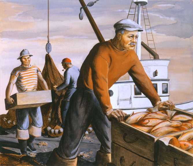 Dorr Bothwell - Fishermen Unloading on the Dock