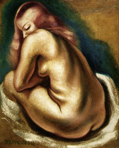 Lorser Feitelson – Seated Nude From The Back