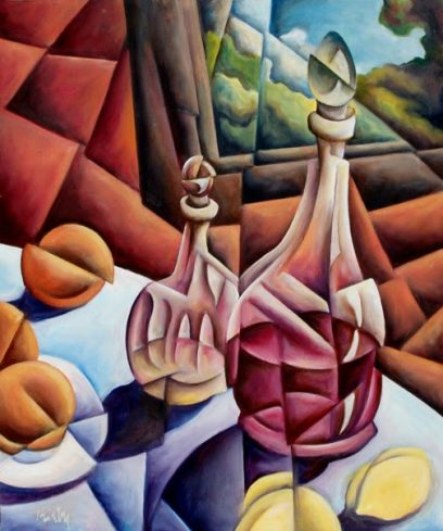 Jeffrey Kirby – Two Decanters with Fruit