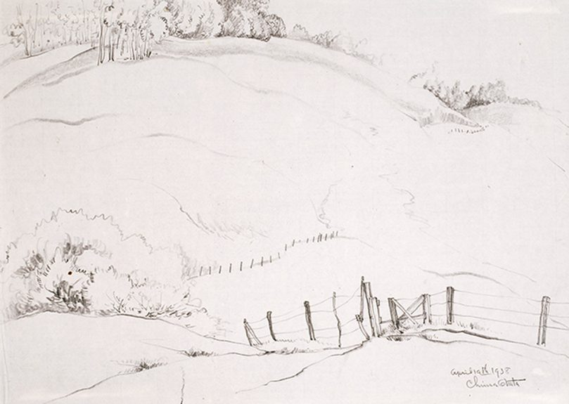 Chiura Obata - Untitled (The Fence)