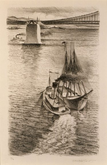 Otis Oldfield - Central Anchorage With Sailing Vessel No. 2 of Building the Bay Bridge series