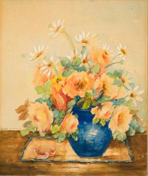 Lucretia Van Horn - Flowers in a Blue Vase